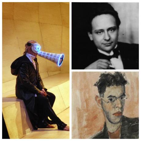 """ימין למעלה : ויקטור אולמן , למטה: פטר קין (פורטרט עצמי)  שמאל: מתוך הפקת """"קיסר אטלנטיס"""" בביצוע האופרה של ננסי צרפת 2004"""