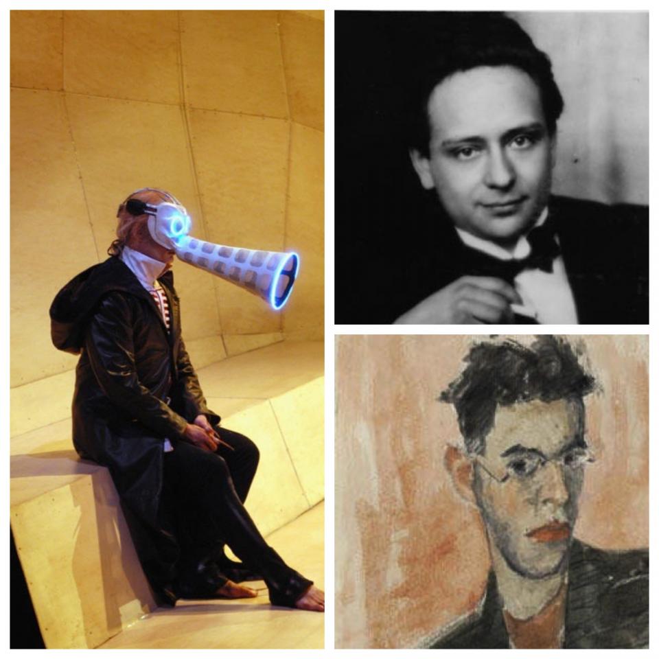 ימין למעלה : ויקטור אולמן , למטה: פטר קין (פורטרט עצמי)  שמאל: מתוך הפקת